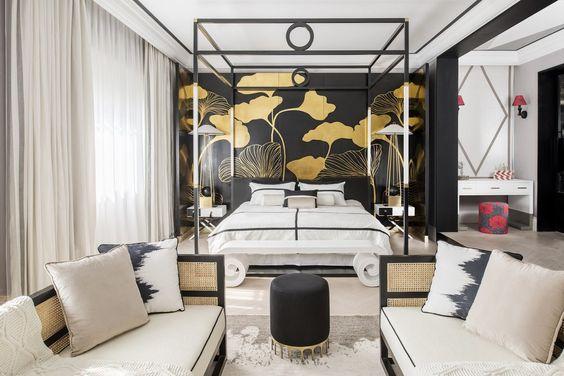 Декорированная спальня в стиле индокитай