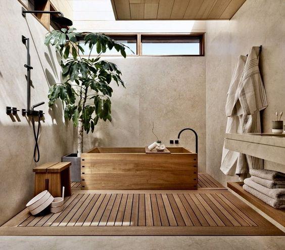 thiết kế nội thất phòng tắm Nhật Bản
