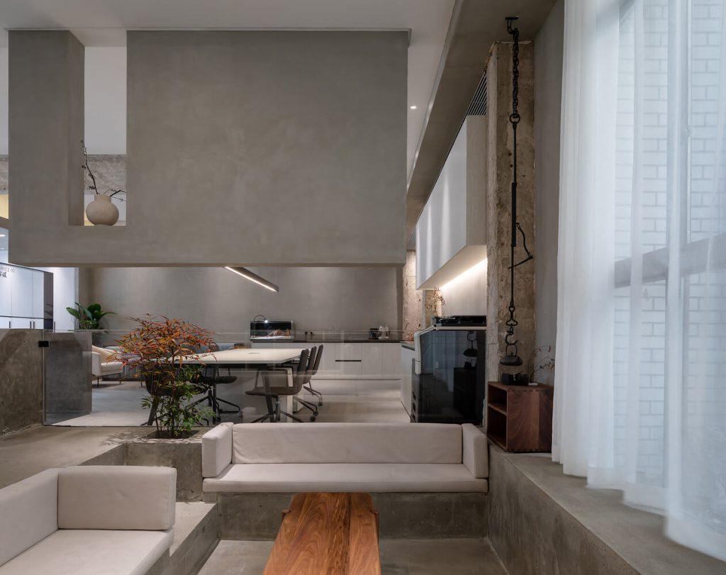 Living room, sofa set and window blinds