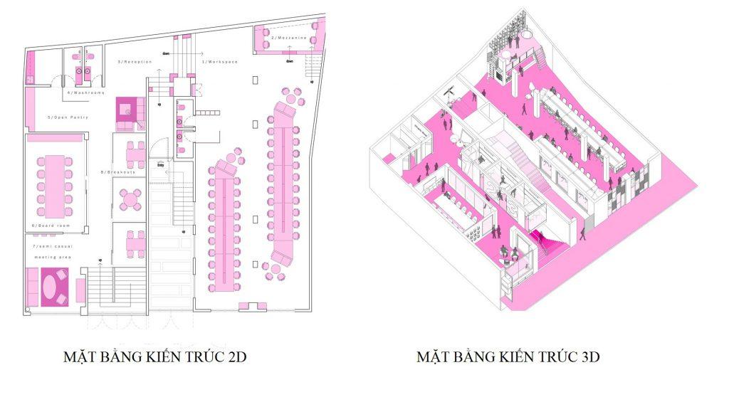 Mặt bằng kiến trúc văn phòng thiết kế phong cách industrial