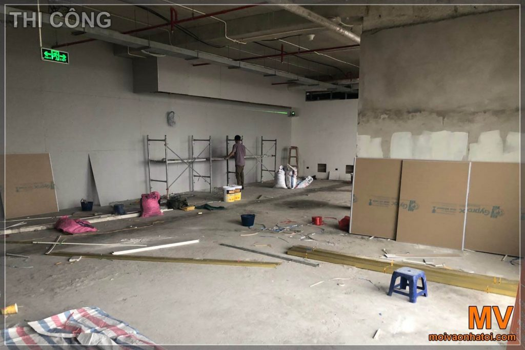 Build drywall construction of office furniture