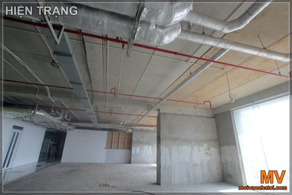 Office ceiling technical pipe