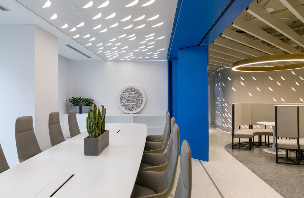 Meeting room with white tones mainly with luxurious office furniture - beautiful modern office