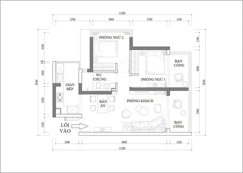 Layout of basic apartment with 2 bedrooms, 1 living space including kitchen, dining table, living room - wallpaper