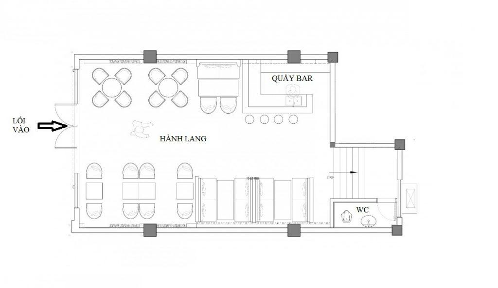 Layout da bela arquitetura do café