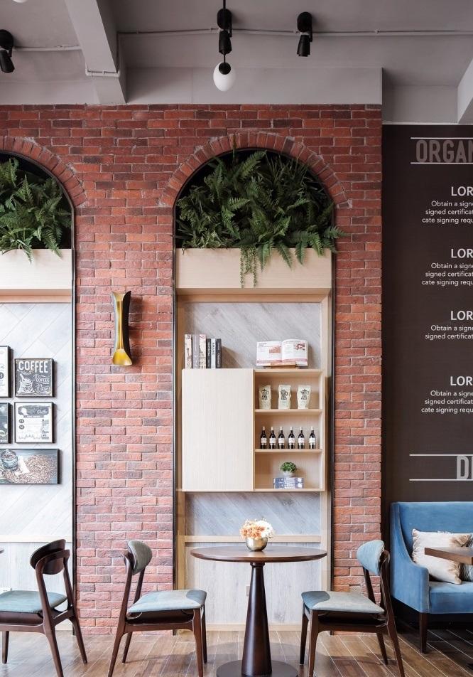 paredes de tijolos combinadas com pequenas hortaliças, móveis clássicos