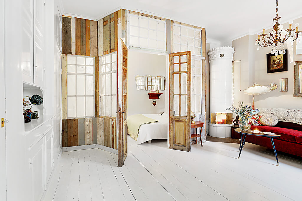 Bedroom using antique wooden door - 1 bedroom apartment
