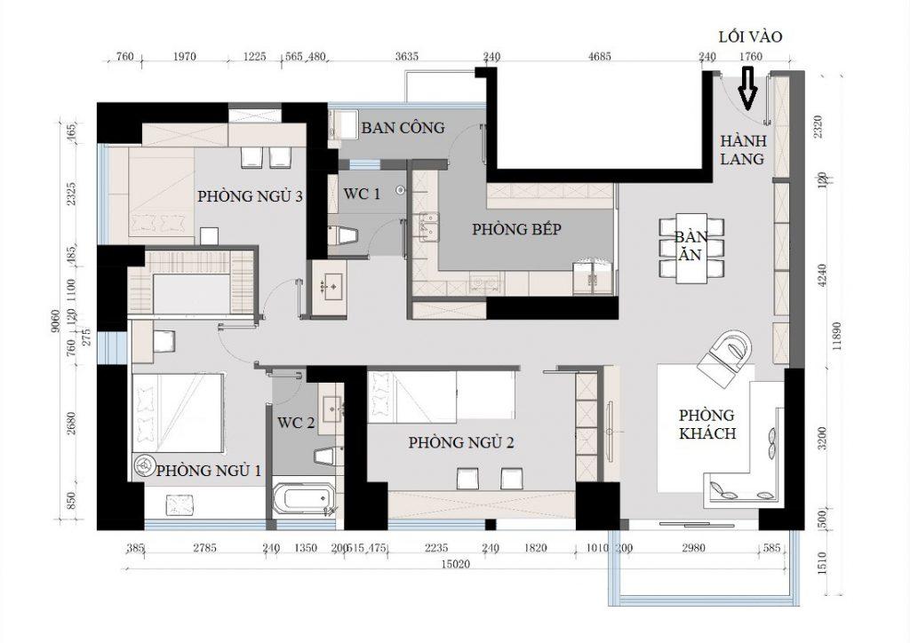 Mặt bằng kiến trúc căn hộ chung cư 3 phòng ngủ - thiết kế nội thất chung cư 150m2