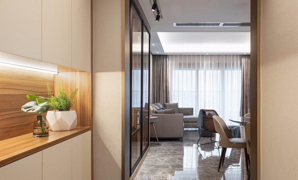 Hàng lang chính ra vào căn hộ - thiết kế nội thất chung cư 150m2