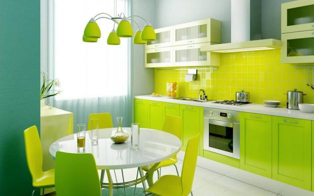phòng bếp tông màu xanh mát