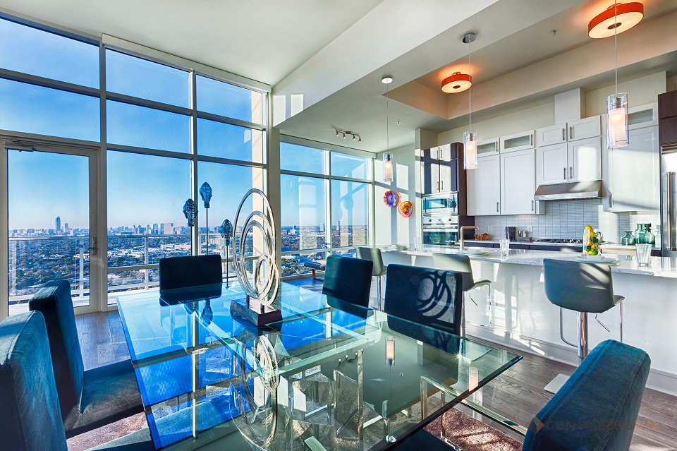 Dining room furniture and kitchen room of penthouses