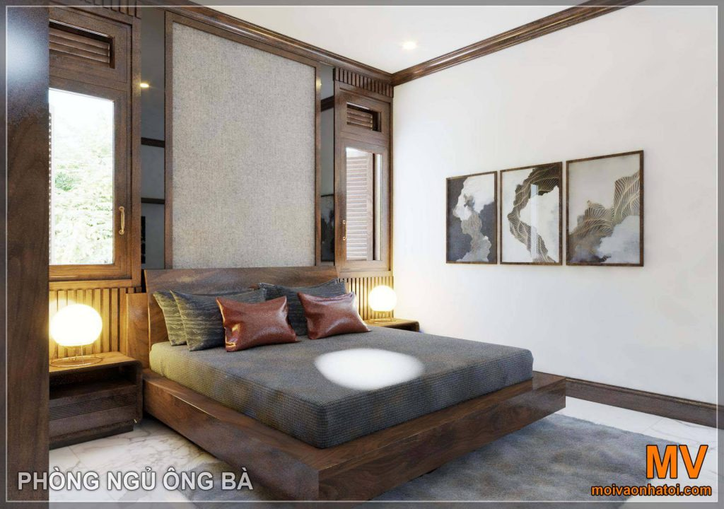 Bedroom furniture with brown wood tone