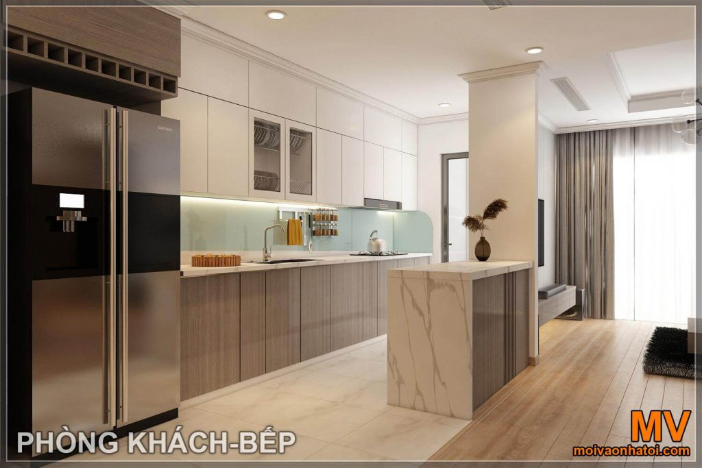 3d living room design - kitchen of parkhill apartment 8 after renovation