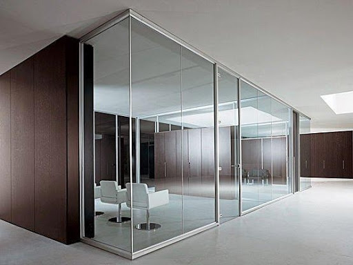 Tempered glass office wall