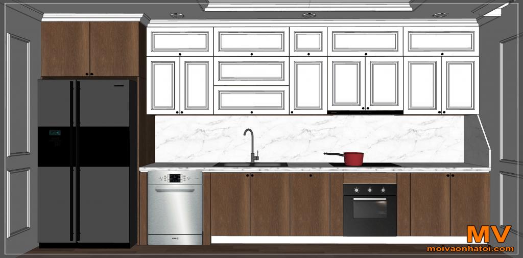 联排别墅的新古典厨房室内设计