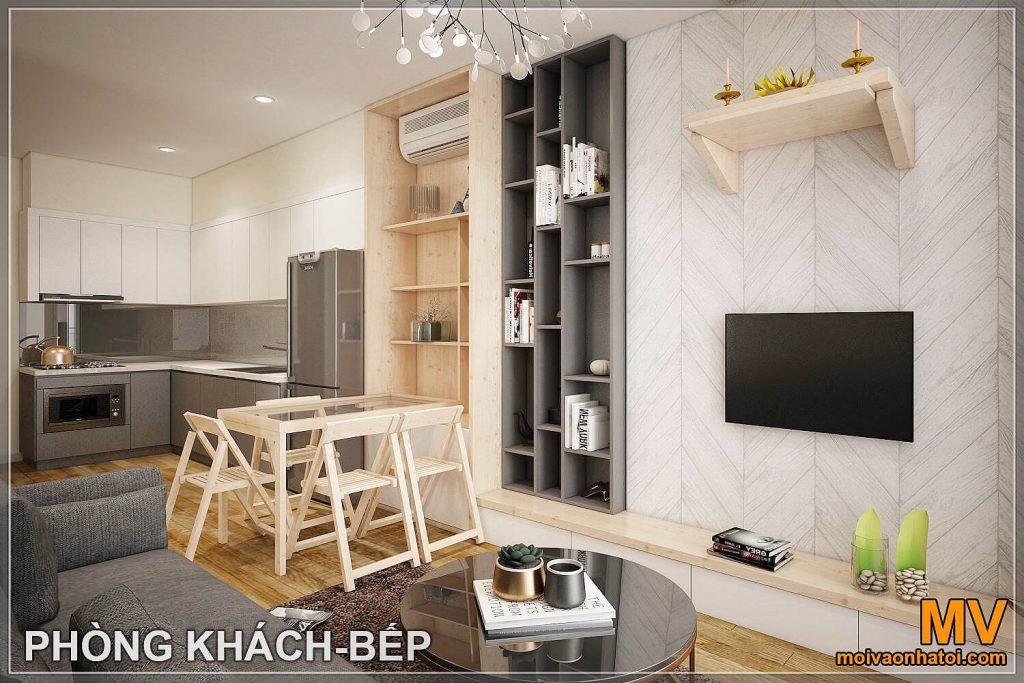 3 डी डिज़ाइन किचन लिविंग रूम ओशन पार्क अपार्टमेंट