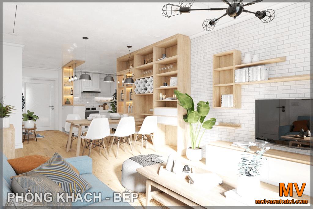 thiết kế nội thất phòng khách - bếp căn hộ parkhill 5