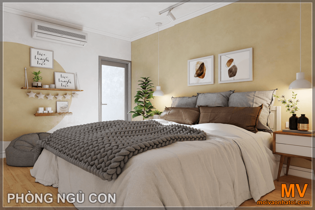thiết kế nội thất phòng ngủ con tại căn hộ parkhill 5