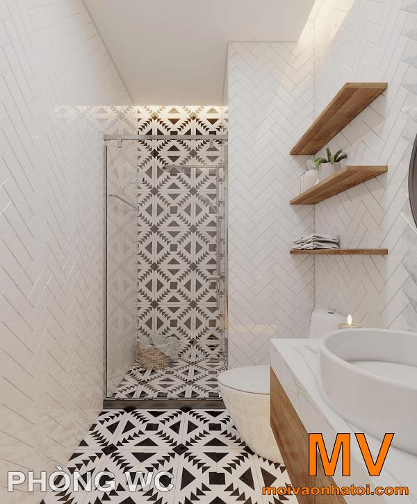 phòng vệ sinh tông trắng