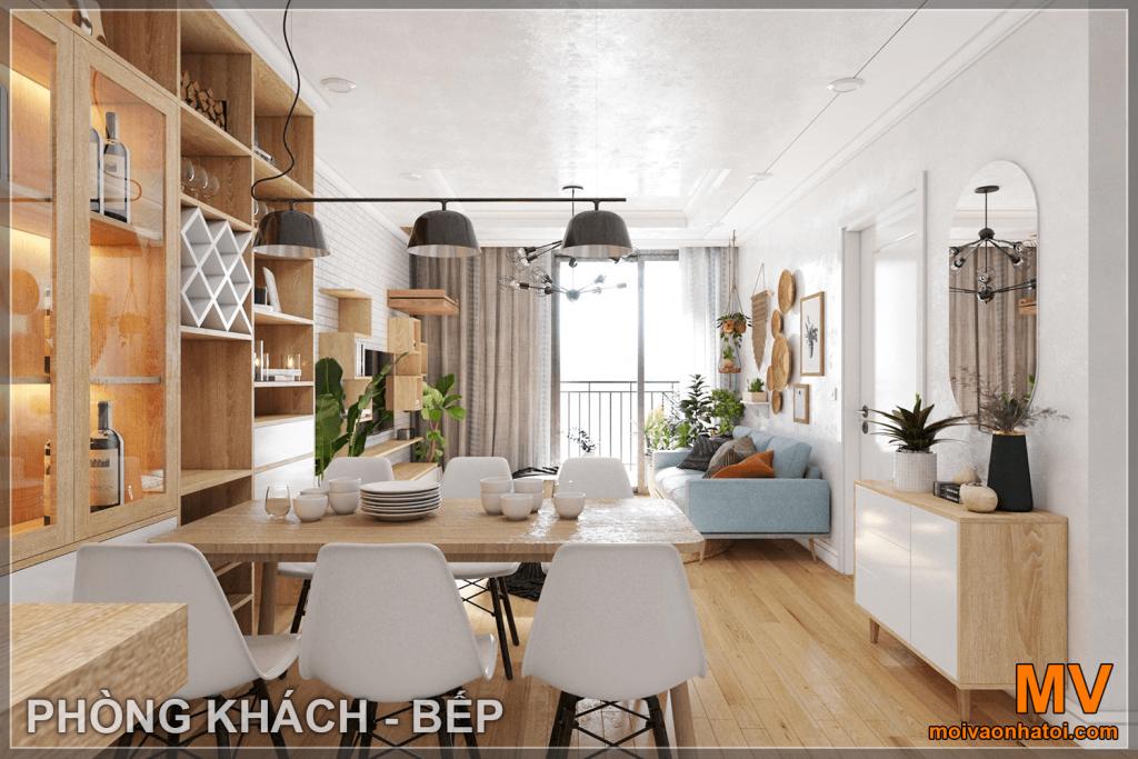 thiết kế nội thất phòng khách, phòng ăn căn hộ parkhill 5