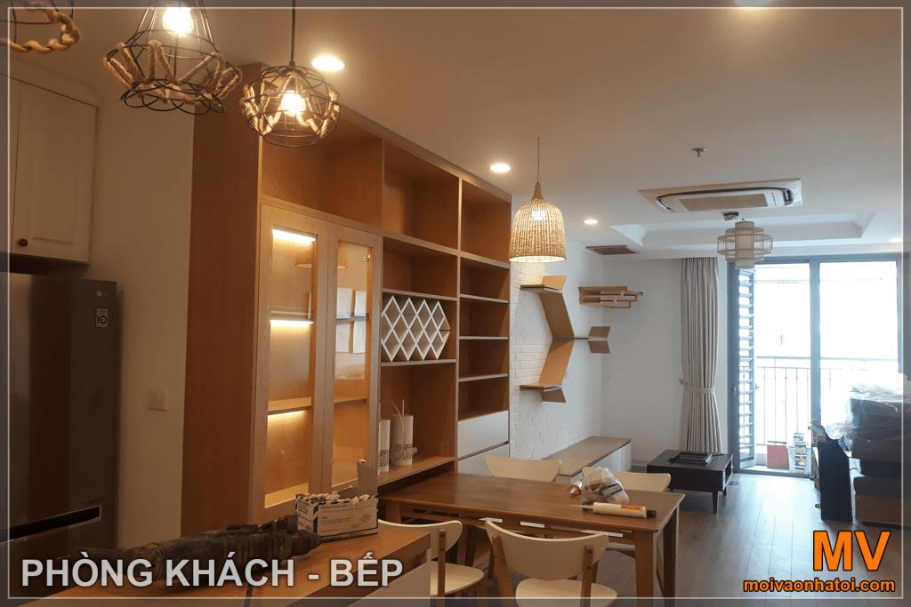 meubles de salon-cuisine de l'appartement 5 Parkhill après la construction