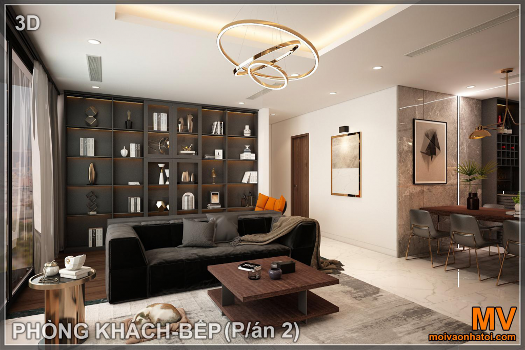 Interior design of living room in sunshine city apartment