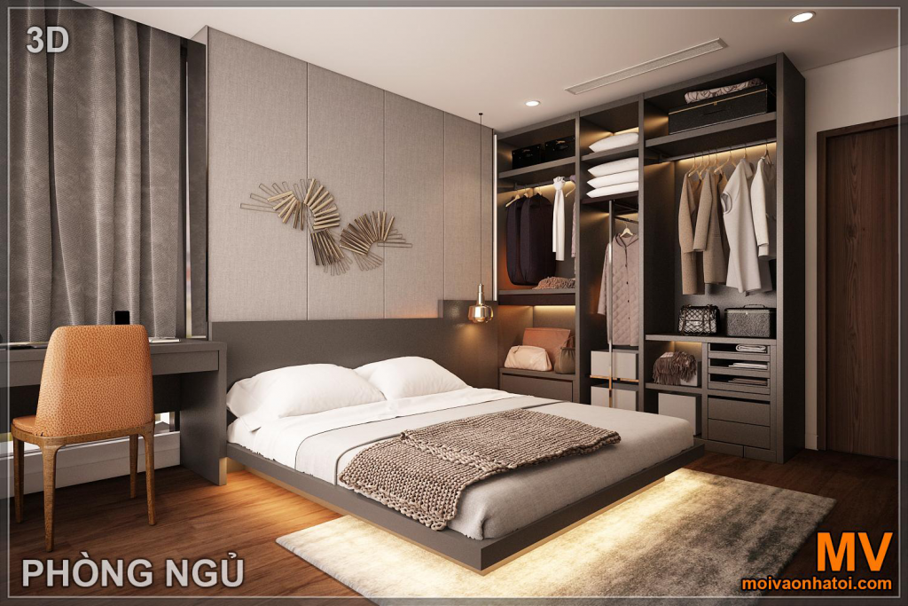 Interior design of master bedroom in sunshine city apartment