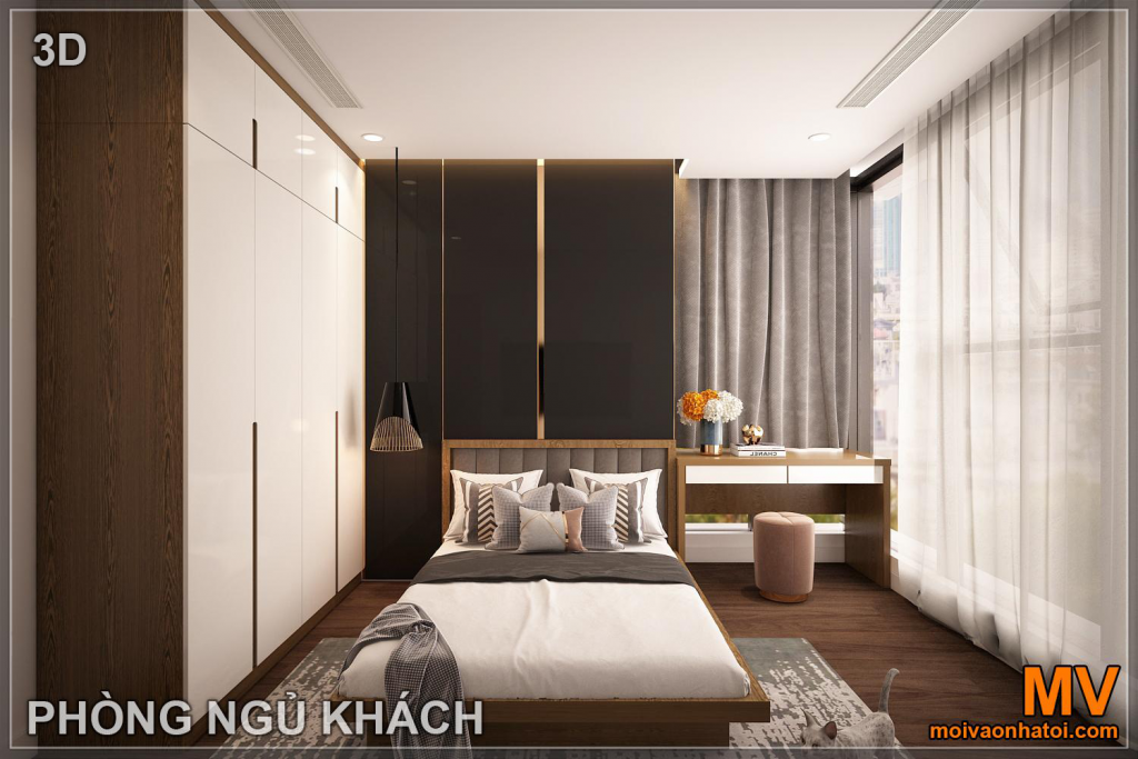 Interior design of guest bedroom in sunshine city apartment