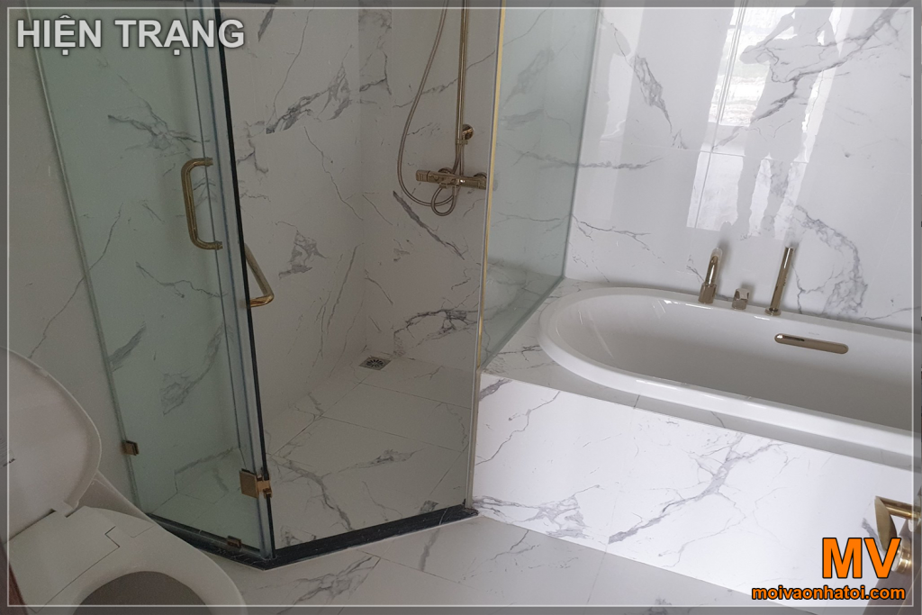 Bathroom with white granite tiles