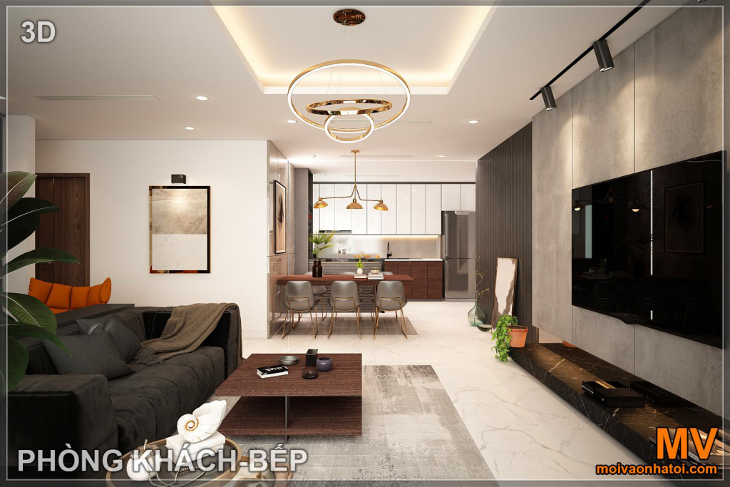 Interior design of living-room kitchen in sunshine city apartment