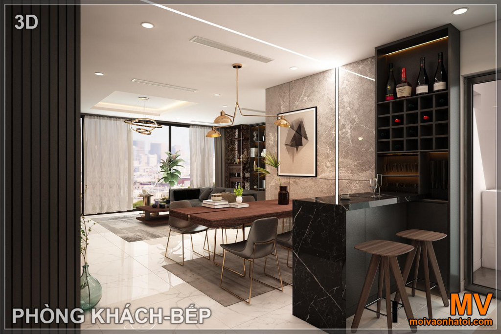 integrated dining room bar design