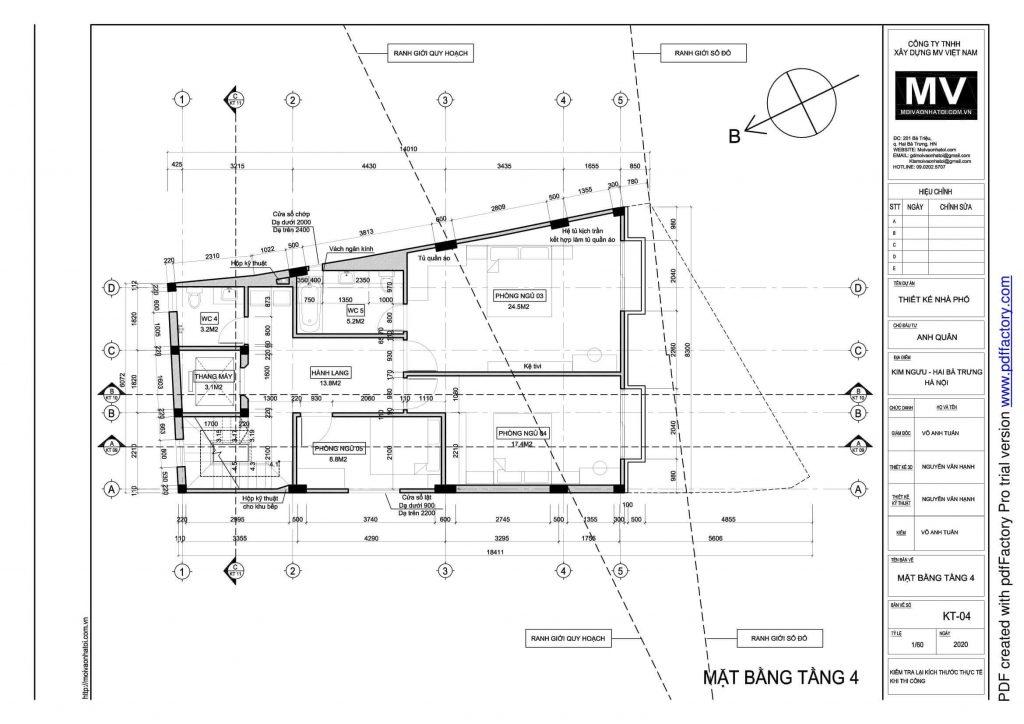 bản vẽ thiết kế mặt bằng tầng 4 của tòa nhà phố cao tầng