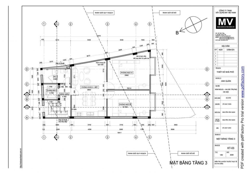 bản vẽ thiết kế mặt bằng tầng 3 của tòa nhà phố cao tầng