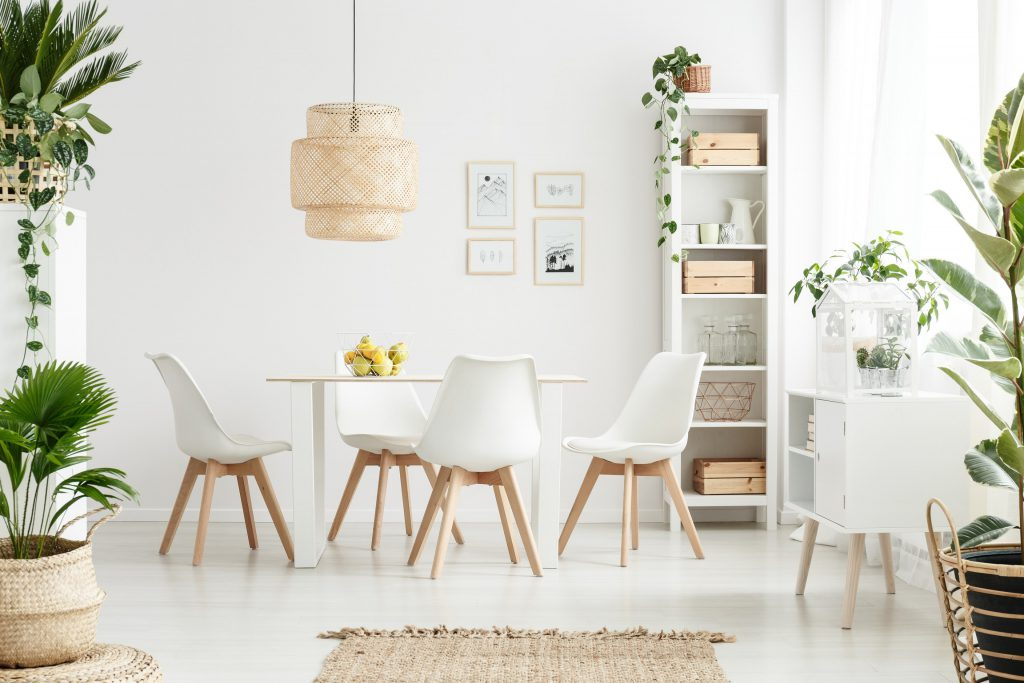white cardboard dining room interior