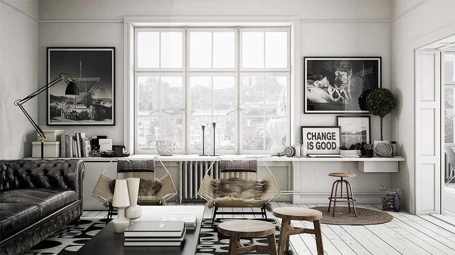 Living room with black and white tones