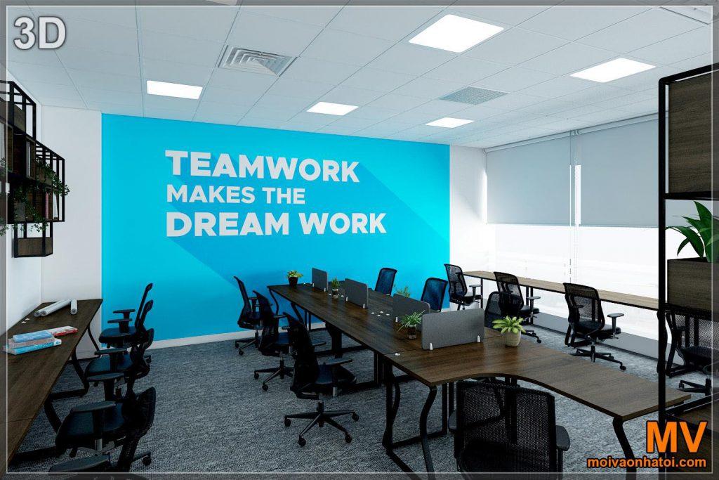 3d design wall array ทาสีตกแต่งภายในสำนักงาน