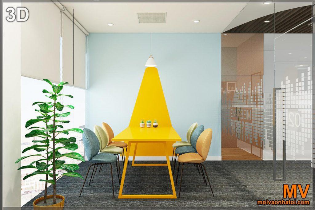 การออกแบบผนังทาสีตกแต่ง 3 มิติสำหรับห้องประชุมขนาดเล็ก