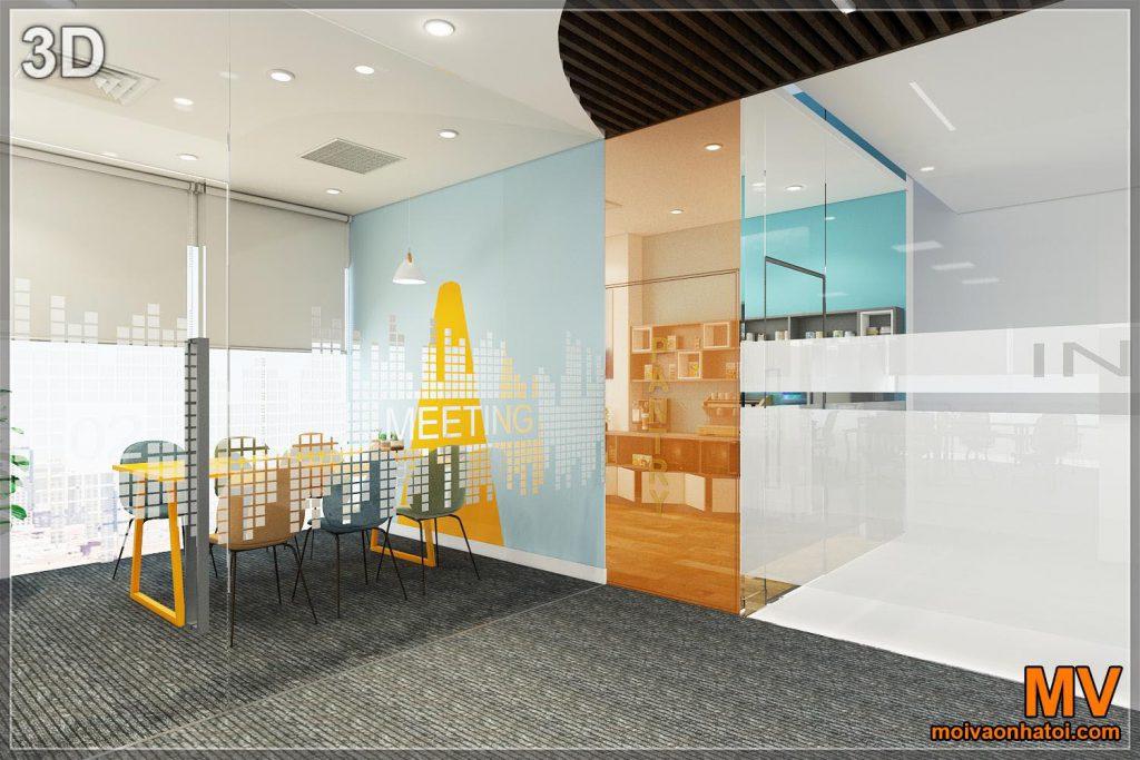 Progettazione 3d dell'interno della parete di vetro dell'ufficio