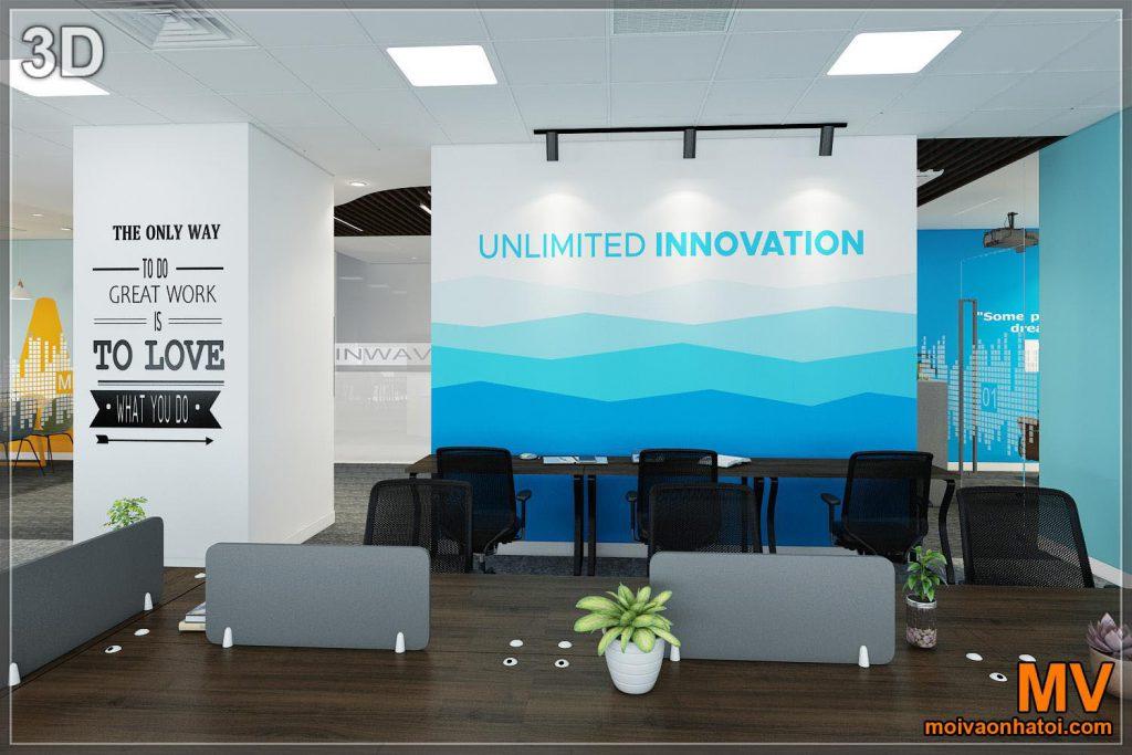 La matrice della parete dipinta di design 3D ha colpito l'arredamento dell'ufficio