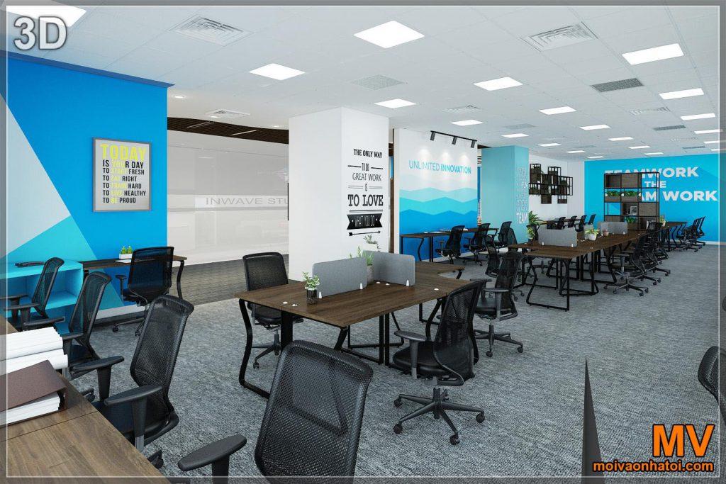 Progettazione 3d dell'interno dell'ufficio che lavora 50 persone