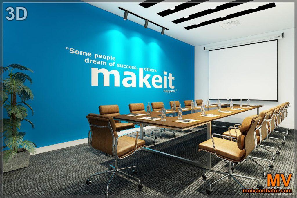 3D дизайн інтер'єру великої кімнати для переговорів