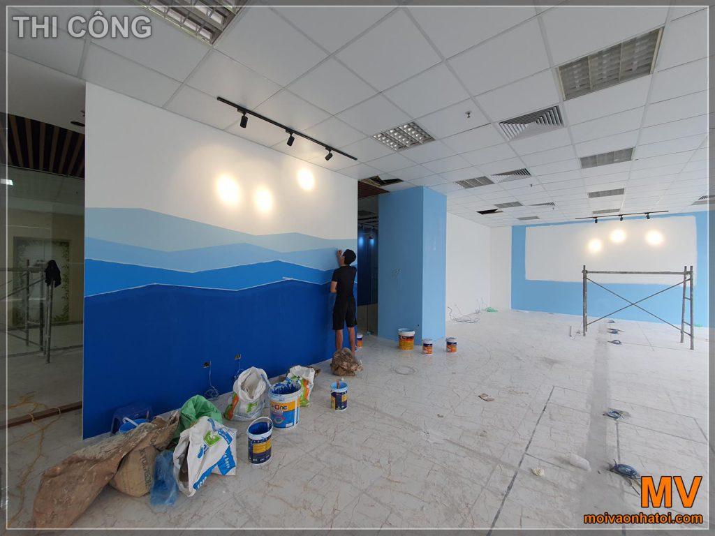 ทาสีผนังอาคารสำนักงาน