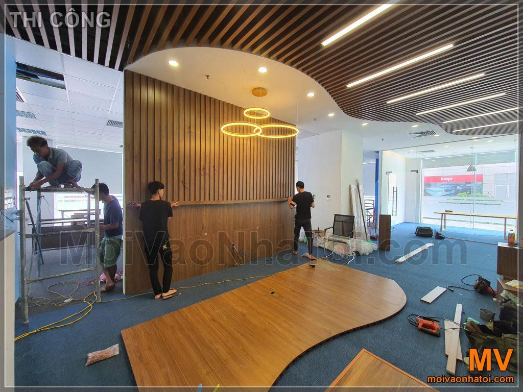 процес побудови офісного приймального залу