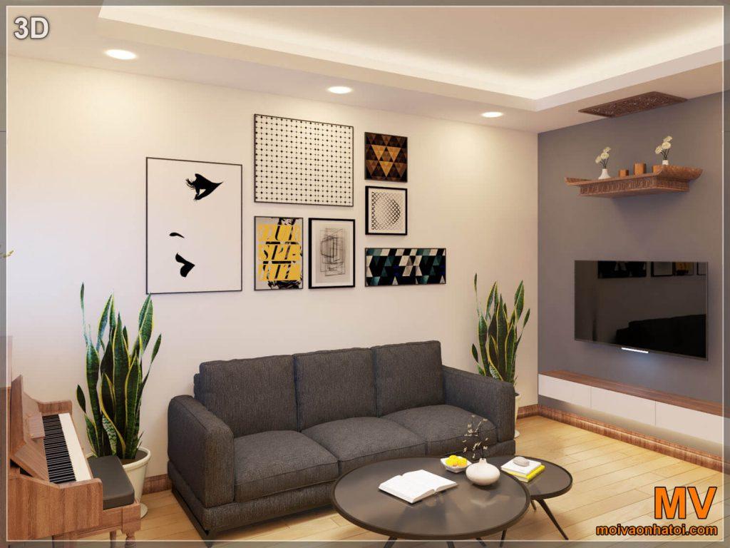 thiết kế 3D phòng khách chung cư cũ