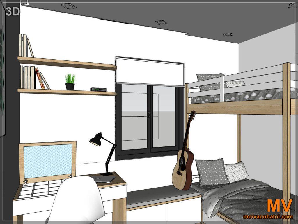 Thiết kế 3D phòng ngủ con chung cư
