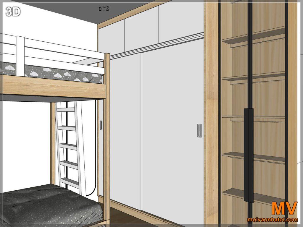 Thiết kế 3D kệ tủ phòng ngủ con