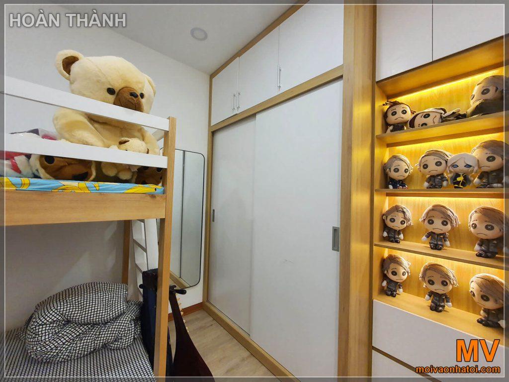 Hoàn thiện kệ tủ phòng ngủ con