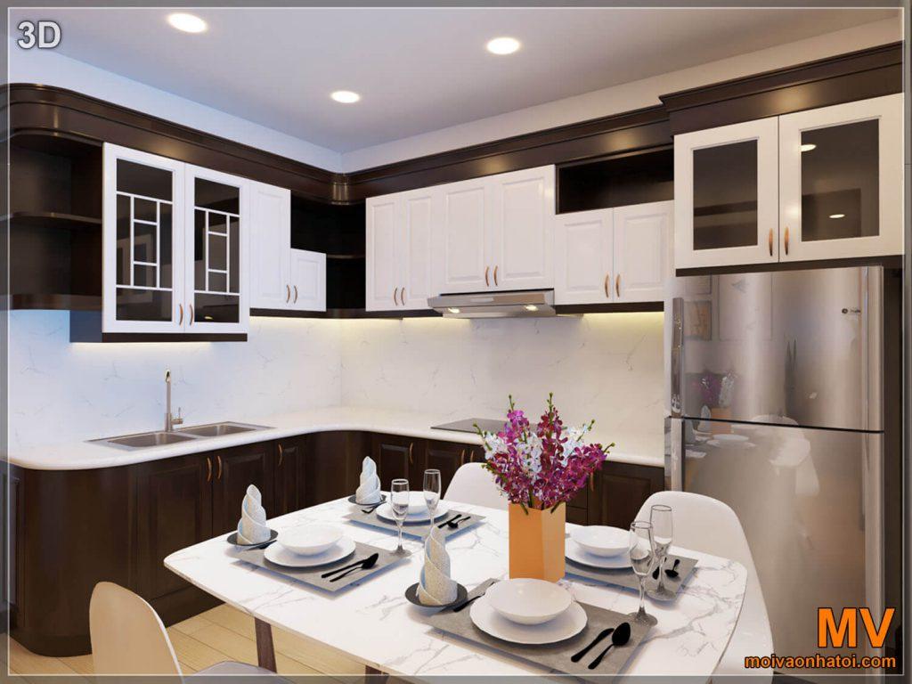 thiết kế 3D phòng bếp chung cư cũ