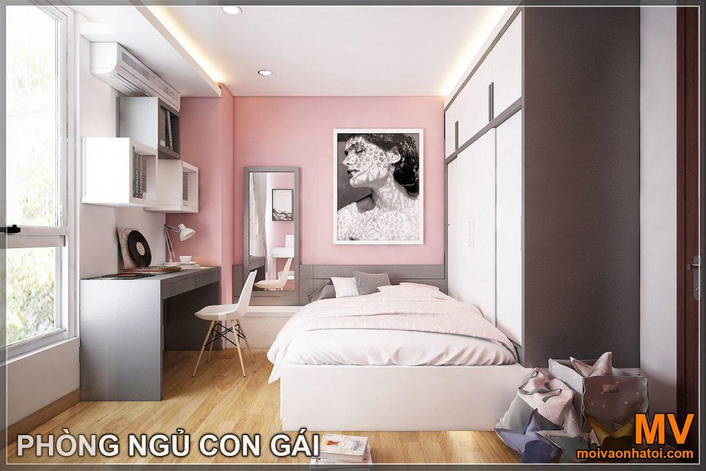 Thiết kế phòng ngủ ngủ con gái chung cư hòa phát