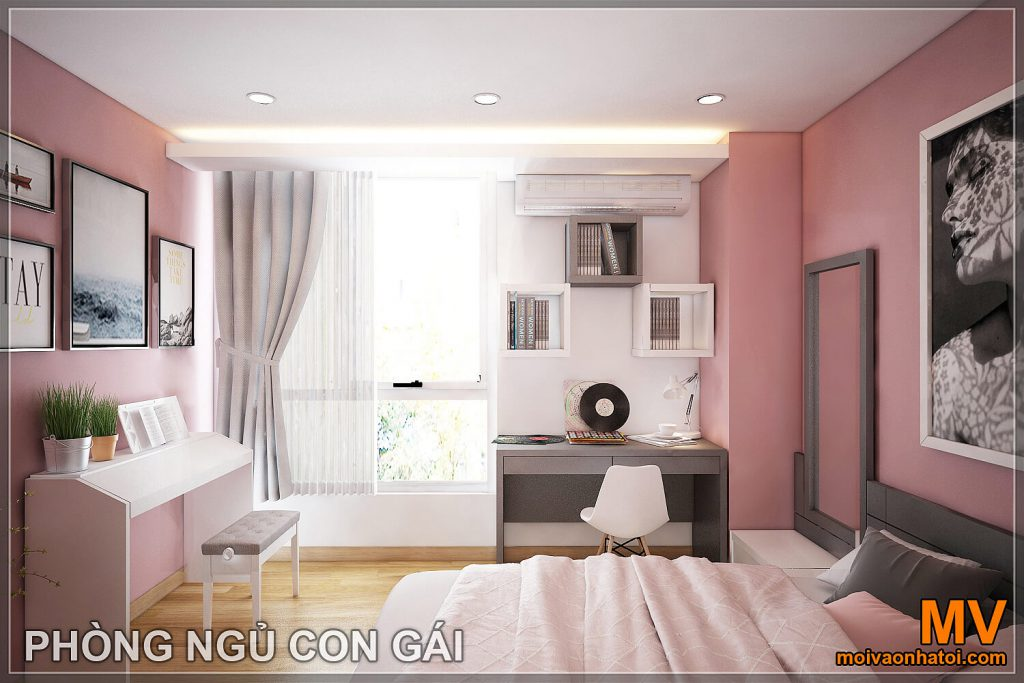 Thiết kế phòng ngủ con gái chung cư hòa phát